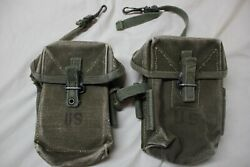 Us Military Issue Vietnam M1956 7.62 308 Canvas Rifle Magazine Pouch Lot Of2 L03