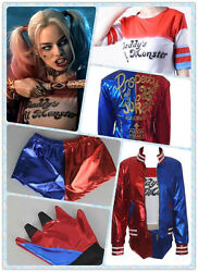 Harley Quinn DC Comics Adult Full Costume Cosplay Set w Embroidery Jacket $29.99