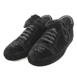 AUTHENTIC CHANEL Low cut G34919 sneakers 5 hall 39 COCO Mark Ribbon Velor ...