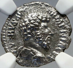 Lucius Verus Authentic Ancient 164ad Rome Silver Roman Coin Mars Ngc I82918