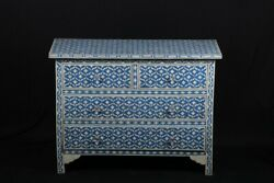 Indian Handmade Vintage Style Bone Inlay 4 Drawers Blue Side Board Buffet