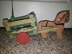 Childs Horseandwagon Pull Toy And Cart - All Wood Construction - 1930's-40's