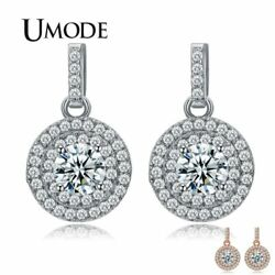 UMODE Latest Halo 5mm 0.5ct CZ  Rose Gold Color Drop Earrings Jewelry New