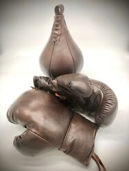 Boxing Gloves Leather Speed Ball Vintage Retro Sport Collectables Memorabilia