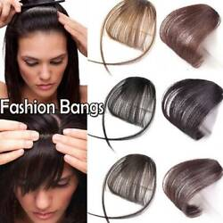 Aaaa+ 100 Clip In Human Hair Air / Neat Bangs Front Fringe Hair Extensions Soft
