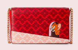 Kate Spade tom amp; jerry chain wallet Clutch crossbody NWT Red $195.00