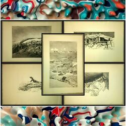 Lot Of 5 Etchings By Lr Ormsby-signed Artist Proofs-grand Canyon, Arches, Lizard