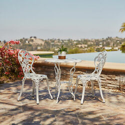 Outdoor 3 Piece Patio Set Rose Design Weather Resistant Table 2 Chairs White
