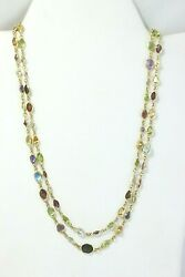 European 750, 18k Yellow Gold Double/tiered Chain Link Necklace W/ Gemstones