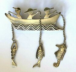 Sterling Silver 3 Fishermen Fishing Boat Lobster Seahorse Fish Catch Brooch Pin