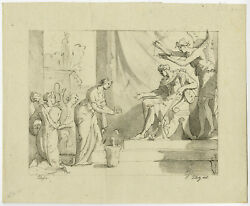 Antique Master Print-genre-crown-king-throne-piloty-poussin-ca. 1811-1816