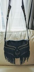 ASH Blue Fringe Leather Soft Crossbody Bag Excellent Preowned Condition $85.00