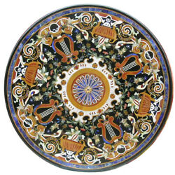 42 Black Marble Center Table Top Pietra Dura Work Inlay Room Furniture Decor