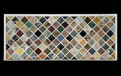 60 X 36 White Dining Table Top Semi Precious Multi Stone Inlay Handcrafted Art