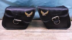 Genuine Willie And Max Small Leather Throw-over Motorcycle Saddlebags Pl239-sb2+