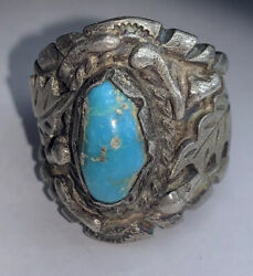 Sswhi Nosco'm 925 Sterling Silver Turquoise Ring Vintage Antique Size 9 3/4