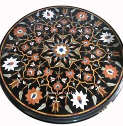 36 Round Marble Coffee Dining Table Top Inlaid Arts Pietra Dura Decor Gifts