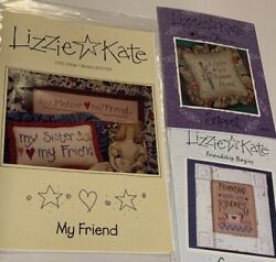 3 Lizzie Kate Cross Stitch Charts Mother My Friend Sisters Forever Friendship $14.99