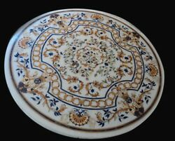 48 Round Marble Sofa Center Table Top Inlay Pietra Dura Work Room Furniture