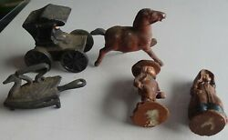 Amish Lot Cast Metal Horse And Buggy Sandp, Mini Hot Iron, Wood Boy And Girl Figures