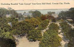 c.1910 BEV Homes & Lake Crescent from Grove Hall Hotel Crescent City FL postcard