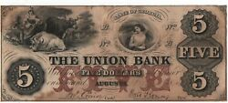 1854 5 The Union Bank Of Augusta Georgia Obsolete Currency 70-g6a Xf