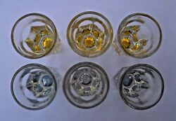 6 Vintage Brilliant Cut Crystal Tinted Shot Glasses. Fluted Starburst Bottoms. $8.00
