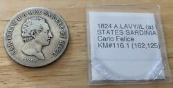 1824 A.lavy//l A Italian States Sardinia 5 Lire Km116.1 Only 162125 Minted