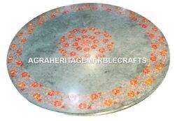 Green Marble Coffee Table Top Carnelian Gem Art Inlay Work Marquetry Decor H3039