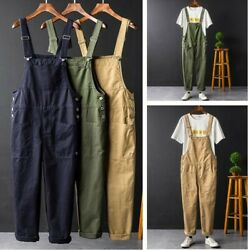 American Retro Dungarees Overalls Fashion Women Men Loose Hiphop Casual Jumpsuit