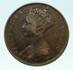 1863 Hong Kong British Colony Queen Victoria Genuine Antique Cent Coin I83656