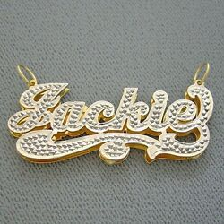 Personalized Solid 10k Gold Double Plate Diamond Accent Name Iced Charm Pendant