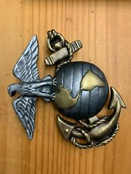 Marine Corps Emblem Wall Decor, Hand Sculpted And Painted, Bronze Or Silver