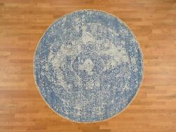 8and039x8and039 Wool And Pure Silk Round Broken Farsian Design Hand Knotted Rug R37359
