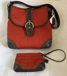 Red Coach Purse w Matching Wristlet Signatiure Canvass And Leather Buckle Flap $85.00
