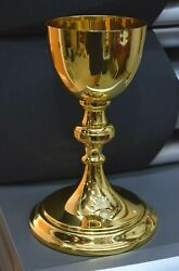 Nice Antique Gold Plated Knights Of Columbus Chalice 7 7/8 Ht Cu341
