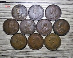 Australia - 1917 X 2-1919-1922-1932-1936-1939-1951 - One Penny - 10 Coins Lot