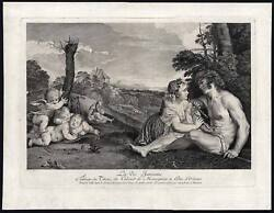 Antique Master Print-stages Of Human Life-ages-flute-cherub-ravenet-titian-1730