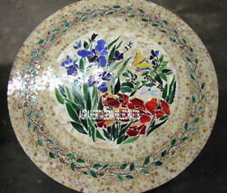 Round Marble Dining Table Top Mosaic Floral Inlay Art Furniture Decorative H3803