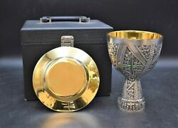 + Nice Older Enameled Chalice With Paten And Case + All Sterling Silver Cu542