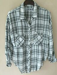 Laundry Room Plaid Shirt Top sz S Black White Button Down Thoreau