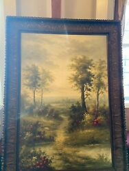 Vintage Oil Painting With Wood Fame 72andrdquox48andrdquo Religious Church Art