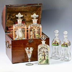 Antique Early1800s Tantalus Mariner's Liquor Chest W/ 5 Hand Painted Decanters