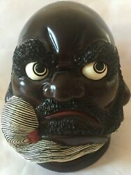 Hand Carved Tribal Bearded Head Bust African Art Sculpture Wood Wooden 9 Tall