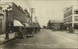 St. Cloud Mn Fifth Ave Cars Great Street Scene C1910 Real Photo Postcard