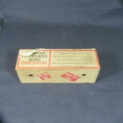 Vintage 1934 Fishlove Co., American Hairless Dog In Comical Wooden Box, Label