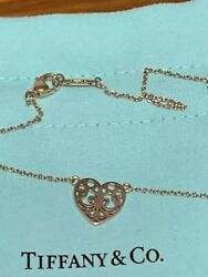 Auth And Co. Enchant Heart Rubbed Metal Necklace W/box Dhl