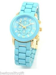 New Geneva Designer's Blue Silicone Wrapped Metal Small Chronograph Watch