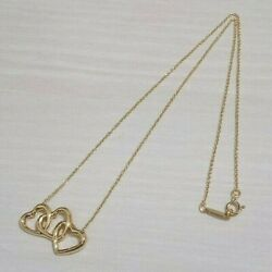 Auth And Co. K18 Yellow Gold Triple 3 Open Heart Necklace Pendant Dhl