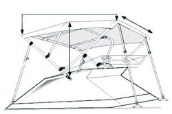 Taylor Made 54685 Bimini Boatops Frame Only Aluminum 6ft X 54in Width 79-84in